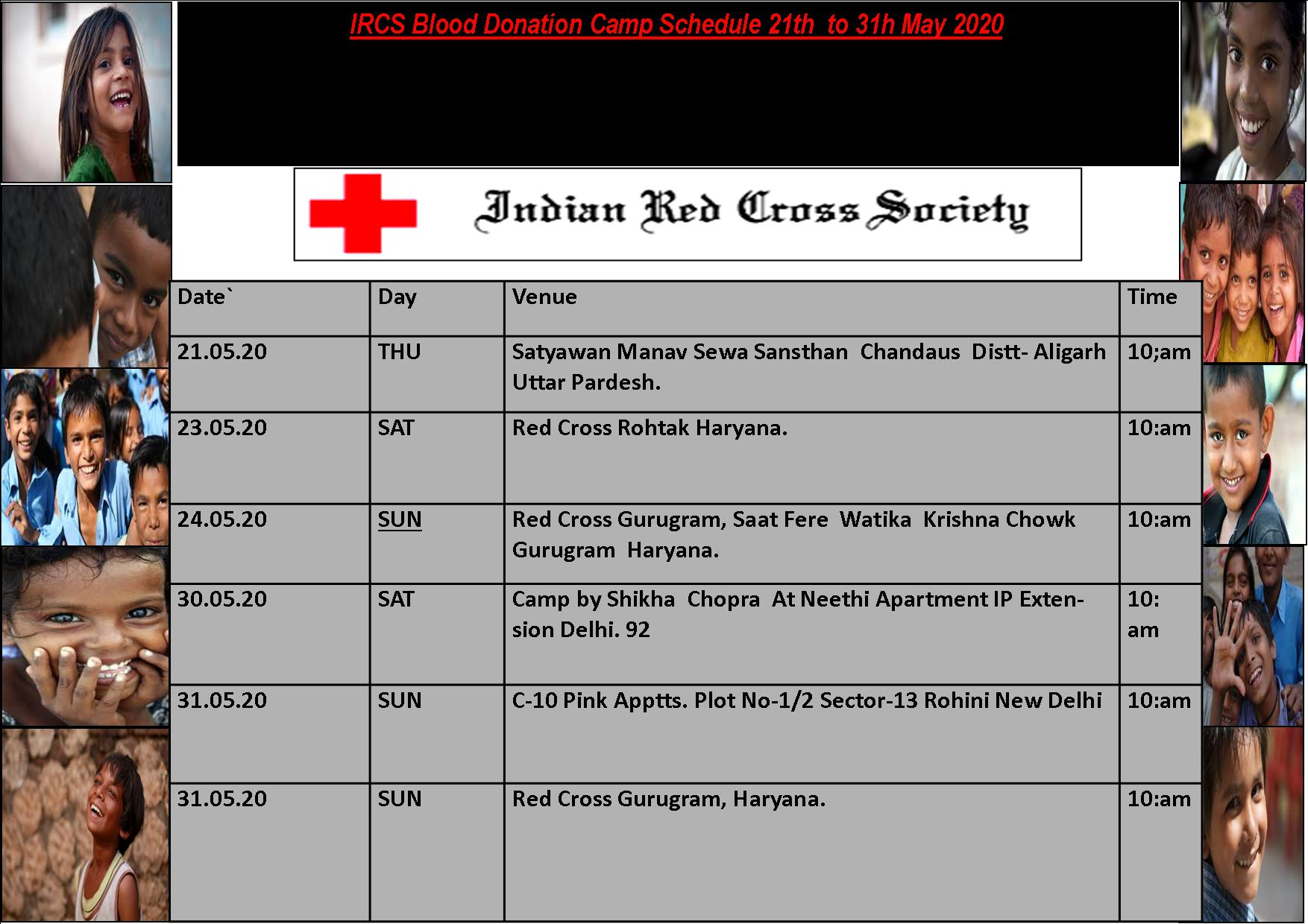 Blood Donation Camp Schedule - 21-31 May, 2020